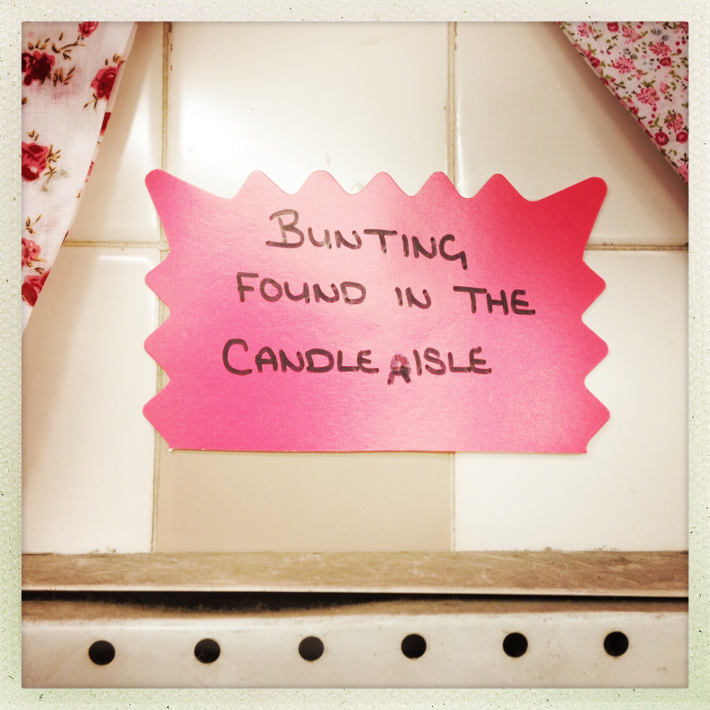 bunting found in candle aisle